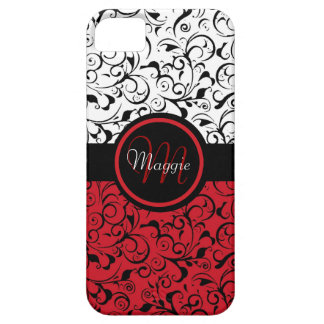 Red black white damask classy iphone 5 case