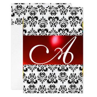 RED BLACK WHITE DAMASK GEM MONOGRAM rsvp silver 9 Cm X 13 Cm Invitation Card