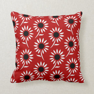 Red Black White Floral Decorative Pillow Throw Cushions