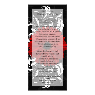 Red, Black, White Gerbera Daisy Menu, Program Rack Card