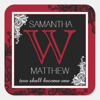 Red Black White Lace Modern Goth Wedding Label