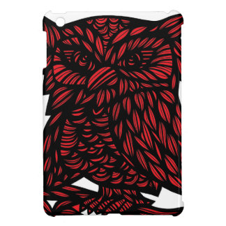 Red Black White Owl Artwork Drawing iPad Mini Cases