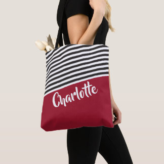 Red Black White Striped Pattern Personalised Name Tote Bag