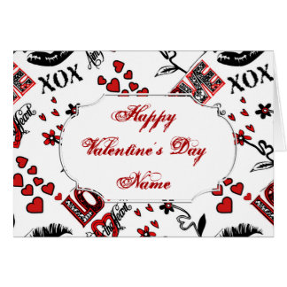 Red Black White Valentine Motif Greeting Card