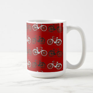 Red Black White Vintage Bicycles  Bikes Cycling Basic White Mug