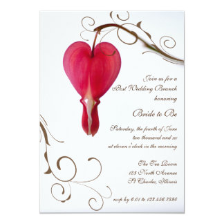 Red Bleeding Heart Post Wedding Brunch Invitation