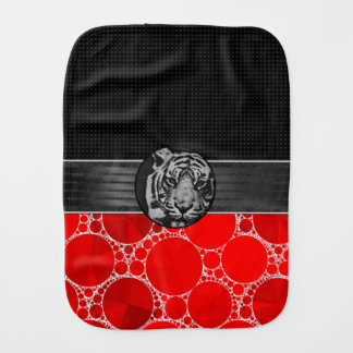 Red Bling Black Tiger Burp Cloth