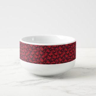 Red Blooms Soup Mug