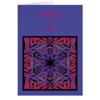Red Blue Abstract Thinking of You Card Template