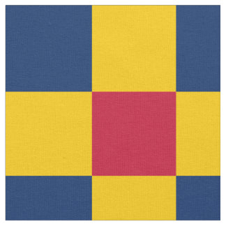 Red, blue and yellow checkerboard pattern fabric