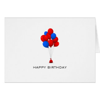 Red & Blue Balloons - Happy Birthday Note Card