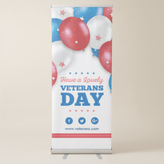 Red Blue Balloons Have a lovely veterans day Retractable Banner