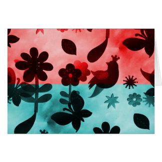 Red Blue Flowers Birds Butterflies Floral Grunge Note Card