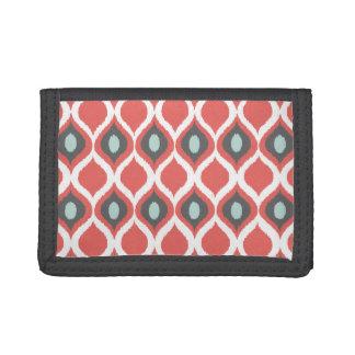 Red Blue Gray Geometric Ikat Tribal Print Pattern Trifold Wallet
