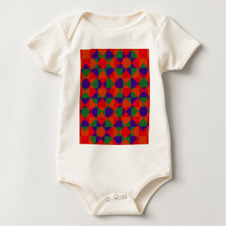 Red Blue Green Check Pattern Baby Bodysuit