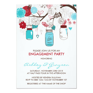 Red & Blue Mason Jars Engagement Party Invitation