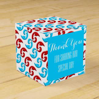 Red blue modern wedding corporate favour box