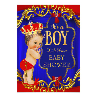 Red Blue Royal Boy Prince Baby Shower Card