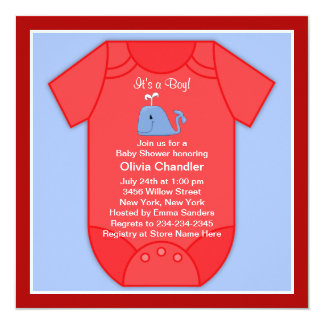 Red Blue Whale Baby Boy Shower Card