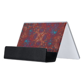 Red Blue White Abstract Desk Business Card Holder