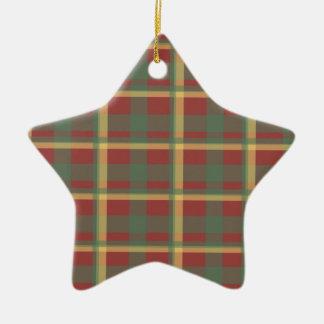 Red Blue Yellow Plaid Christmas Ornament