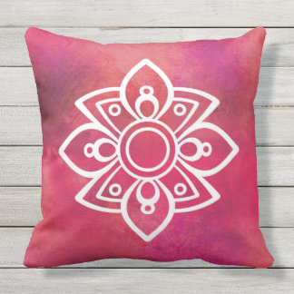 Red Bohemian and Rustic Design Outdoor Cushion