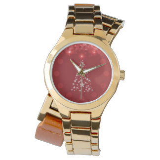 Red Bokeh Christmas Tree Gold Wrap-Around Watch