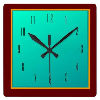 Red Border/ Sea Green Centre> Plain wall Clock