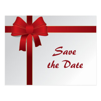 Red Bows Winter Wedding Save the Date Postcard