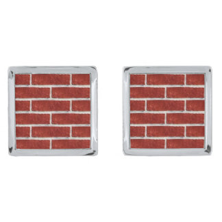 Red Brick 2! Silver Finish Cuff Links