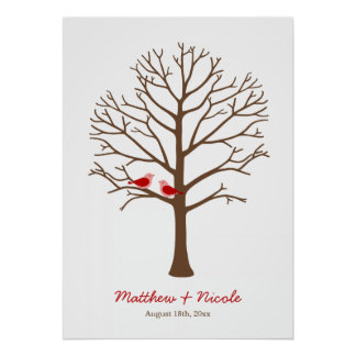 Red Brown Birds Fingerprint Tree Wedding Posters