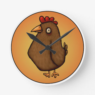 Red Brown Chicken Standing Tall Round Clock