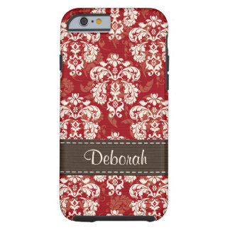 Red Brown Damask iPhone 6 Tough Tough iPhone 6 Case