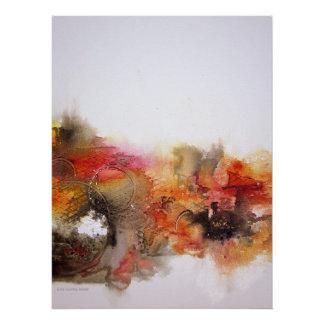 Red Brown Orange White Modern Abstract Art Canvas