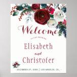 Red burgundy bouquet winter wedding welcome sign