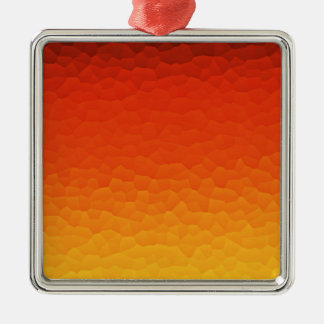 Red Burnt Orange to Gold Ombre Crackle Pattern Silver-Colored Square Decoration