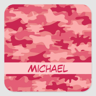 Red Camo Camouflage Name Personalized Square Sticker