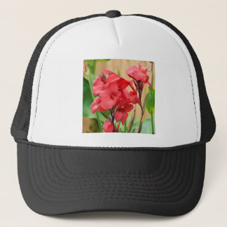 Red canna flowers trucker hat