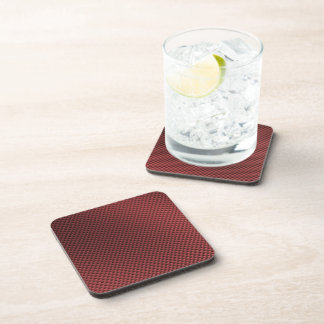 Red Carbon Fiber Patterned Coasters