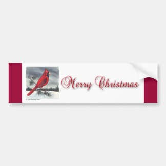 Red Cardinal Bird Christmas Bumper Sticker