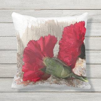 Red Carnation Garden Flowers Outdoor Pillow