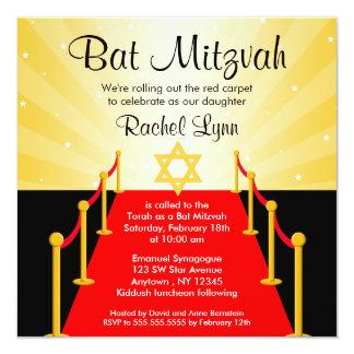 "Red Carpet Hollywood Bat Mitzvah Invitations 5.25"" Square Invitation Card"