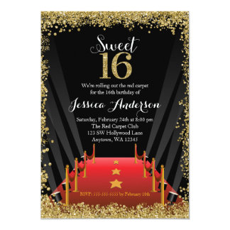 Red Carpet Hollywood Glitter Sweet 16 Birthday 13 Cm X 18 Cm Invitation Card