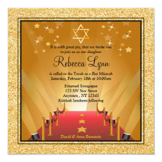 Red Carpet Hollywood Gold Star Bat Mitzvah 5.25x5.25 Square Paper Invitation Card