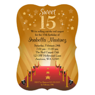 Red Carpet Hollywood Star Sweet 15 Birthday Card