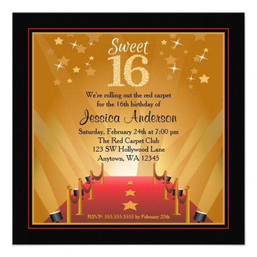 Red Carpet Hollywood Star Sweet 16 Birthday Invitation