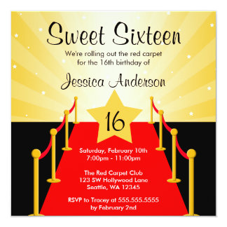 Red Carpet Hollywood Sweet 16 Birthday Party 13 Cm X 13 Cm Square Invitation Card