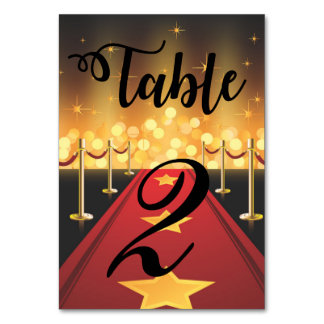Red Carpet Hollywood Sweet 16 Table Number