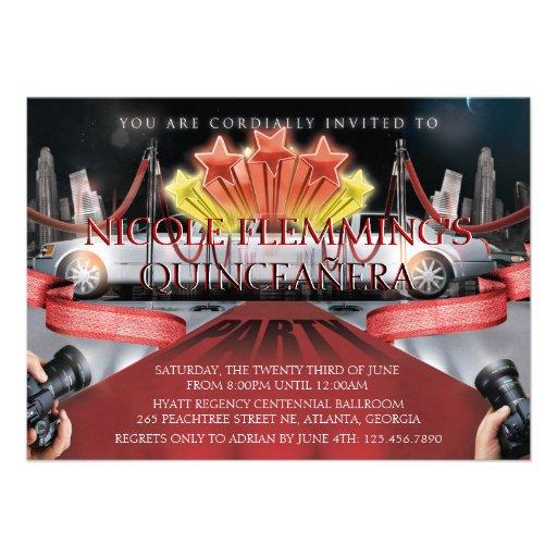 Red Carpet Quinceañera Invitation