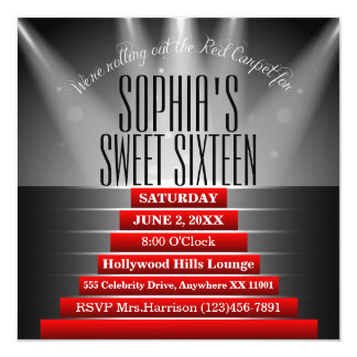 "Red Carpet Sweet Sixteen Birthday Party Invitation 5.25"" Square Invitation Card"